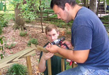 Josh and I working on the handrails.