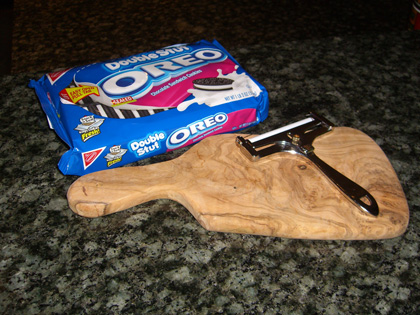 Oreo Package and Cheese Slicer.
