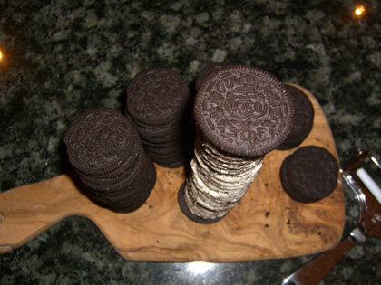 The final oreo tower from above.