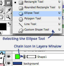Ellipse Tool Selection and chain icon.