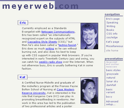 2002 Meyerweb, courtesy of The Wayback Machine