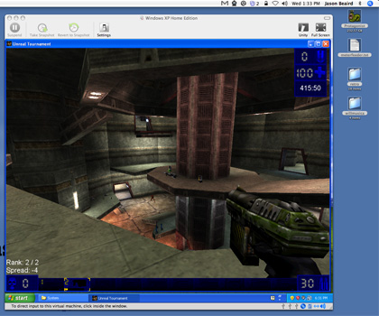 Unreal Tournament being played in VMWare Fusion Windows